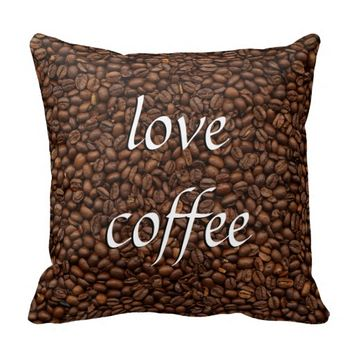 Love Coffee - Pile of Beans Throw Pillow Cushion