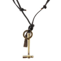 Punk (Hammer+Ring+Tag) Black Leather Pendant Necklace For Men (1 Pc)