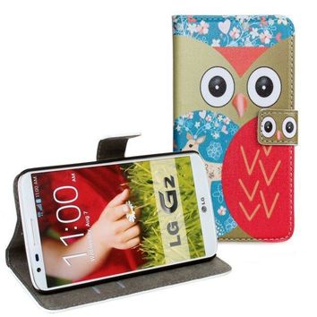 For LG Optimus G2 Mobile Wallet Phone Accessory Cute Owl Protective Bag PU Leather Cover Shell For LG Optimus G2 D801 D802