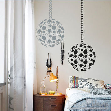 Circles of life Chakra Vinyl Wall Decals with Hanging Chain - Globe circular round decoration Wall Decal -Globe Vinyl Wall Sticker -