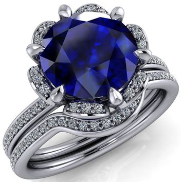 Daisy Round Blue Sapphire Floral Diamond Basket Design and Diamond Shoulders Ring
