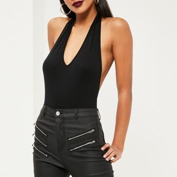 Missguided - Deep Plunge Halter Bodysuit Black