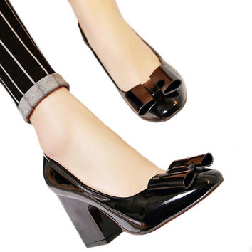 Patent Leather Low-cut Women Thin Shors Round High Heel Plus Size  black  35