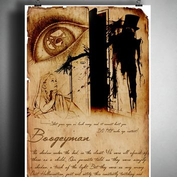 The Boogeyman cryptid art, urban legend bestiary cryptozoology science journal art, monsters and folklore,