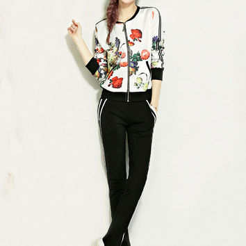 Floral Long Sleeve Sweater Suit