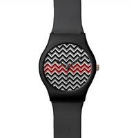 Red and Black Chevron Stripes Wristwatch