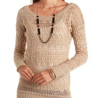 Fuzzy Pointelle Tunic Sweater by Charlotte Russe - Stone