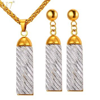 U7 New Hot Gold Color Dubai Jewelry Set Trendy Gift  Alloy Lucky Charm Earring Necklace Sets For Women S846