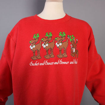 80s Ugly CHRISTMAS SWEATSHIRT / Drunk REINDEER Funny Novelty Sweater
