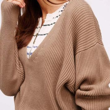 Free People Allure Sweet Sweater in Taupe