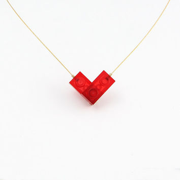 Lego Necklace, Neon Red Heart Necklace, Lego Heart Necklace, Christmas Gift, Lego Bricks, Lego Jewelry, Necklace For Christmas, Lego Gifts