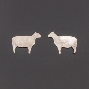 Sterling silver sheep post earrings. Sheep silhouette earrings. Sheep stud earrings. Silver posts. Sheep earrings. Totem jewelry. Birth year