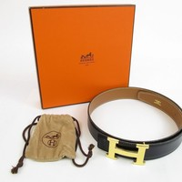 Auth HERMES Belt Constance Gold H Buckle Black Leather Waist Size 68-73 #5578