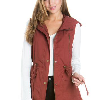 Dark Rust Anorak Military utility Jacket Vest with Drawstring