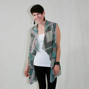 Kimono Vest with Flounce Front in Silky Patchwork Print