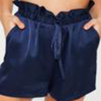 Missguided - Navy Paperbag Elasticated Waist Shorts