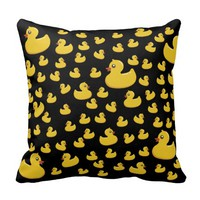 Yellow Rubber Ducks Throw Pillow (Black)