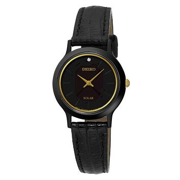 Seiko Womens Solar Single Diamond Leather Strap Watch - Black & Gold Tone Case