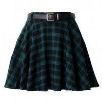 Green Plaid Skater Skirt with Belt - Bottoms - Retro, Indie and Unique Fashion