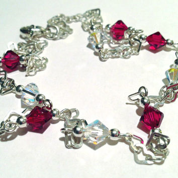 Beaded Jewelry, Heart Chain Necklace, Ruby Red Swarovski Crystal Necklace, Sterling Silver Jewelry