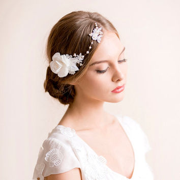 Flower Headpiece Bridal Gardenia - Wedding Headpiece with Flowers and Lace - Bridal Headpiece - Bridal Hair Accessories - Bridal Hairpieces