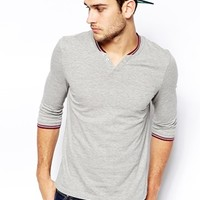 ASOS 3/4 Sleeve T-Shirt With Notch Neck And Tipped Rib at asos.com
