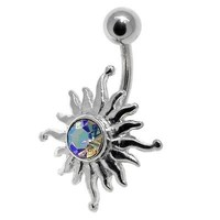 Belly Button Ring - Tribal Sun AB CZ Gem - Navel Piercing 14G 7/16""