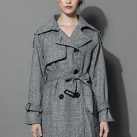Classic Double-breasted Trench Coat in Grey