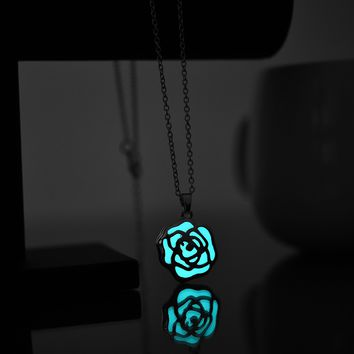 Rose Glowing In The Dark Pendant Necklace Women Jewelry Silver Color Chain Luminous Necklace Hollow Flower Statement Necklace