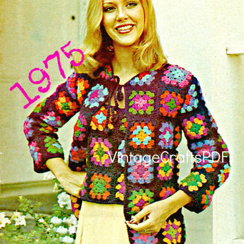 1975 Crochet Pattern-Granny Square Twin Set-Tank Top and Cardigan Set-Hippie Clothing-Granny Square Pattern-Jacket-Vintage USA Pattern