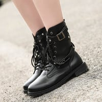 Men And Women Lover Rivet Buckle Lace Up Round Toe Martin Boots