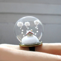 Ring Snow-covered landscape-Little house and white clouds- Winter Terrarium ring.