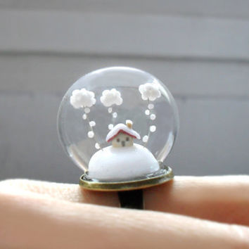 Ring Snow-covered landscape-Little house and white clouds- Winter Terrarium ring.- Glass globe