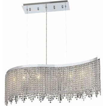 "Moda 32"" L Chandelier, Chrome Finish, Clear Crystal, Elegant Cut"