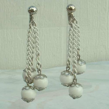 CELEBRITY NY Triple White Bead Dangle Clip Earrings Chains Vintage Jewelry