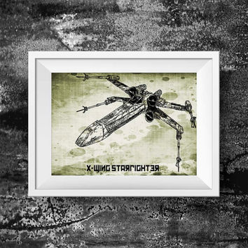 spaceship x wing print - Movie spaceship x wing print - stormtrooper wall art decor poster print