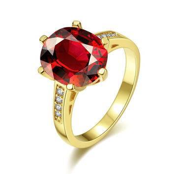 Gold Plated Medium Cut Ruby Red Ring