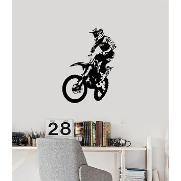 Vinyl Wall Decal Motocross Freestyle Racing Rider Motorcycle Stickers Mural (ig6110)