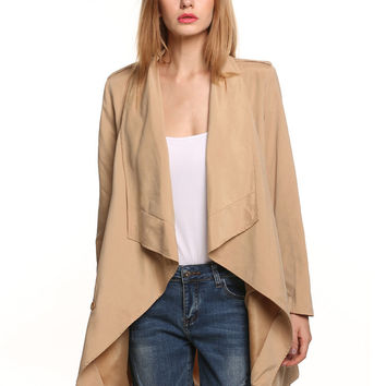 Khaki Long Sleeve with Side Pocket Long Coat with Belt