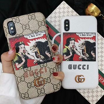 GUCCI Trending Stylish Snow White With Big Eye Pattern iPhone X iPhone 8 plus - Stylish Cute On Sale Hot Deal Matte Couple Phone Case For iphone 7 6s 6plus 6s plus I-OF-SJK