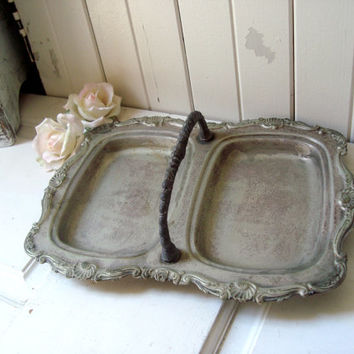 Rustic Ornate Silver Plated Double Tray with Handle, Farmhouse Serving Tray, Patina Tray, Cottage Chic Double Tray, Shabby Chic Serving Tray