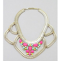 Annalise  Pink & Turquoise Statement Necklace