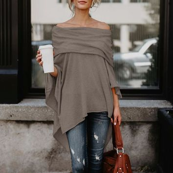 BNC Women's Off Shoulder Top Asymmetric Overlap Solid Poncho Pullover Women's Knits & Tees Fashion Clothing Ladies Casual Fall T-shirt Tops