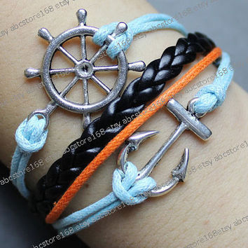 Anchor Bracelet-anchor charm bracelet-rudder bracelet-blue rope, orange rope, black braided bracelet