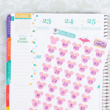 RunDisney Princess Half Marathon or Glass Slipper Challenge Countdown Stickers - Disney Planner Stickers