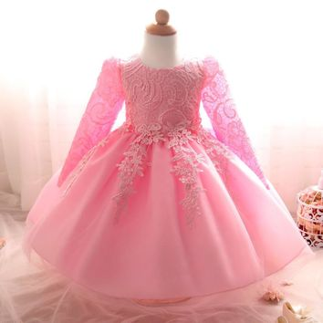 Flower Baby Girl infant Dress Wedding Princess Girls Dresses 1 Year Birthday Kids clothing Newborn party tutu dress Girl Clothes