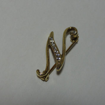"Vintage Gold Tone Letter ""N"" Initial/Monogram Brooch/Pin with Clear Rhinestones"