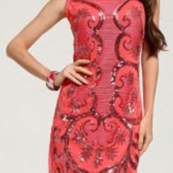 Stylish Scoop Neck Sleeveless Heart Pattern Sequins Women's Dress