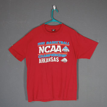 Vintage Arkansas Tshirt / Arkansas Razorbacks / NCAA / Basketball / 1990 Championship