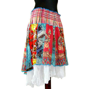 Asymmetric Skirt, Lagenlook Skirt, Upcycled Clothing, Boho Skirt, Layered Lagenlook, Country Girl Skirt, Gypsy Cowgirl Skirt, Red Skirt